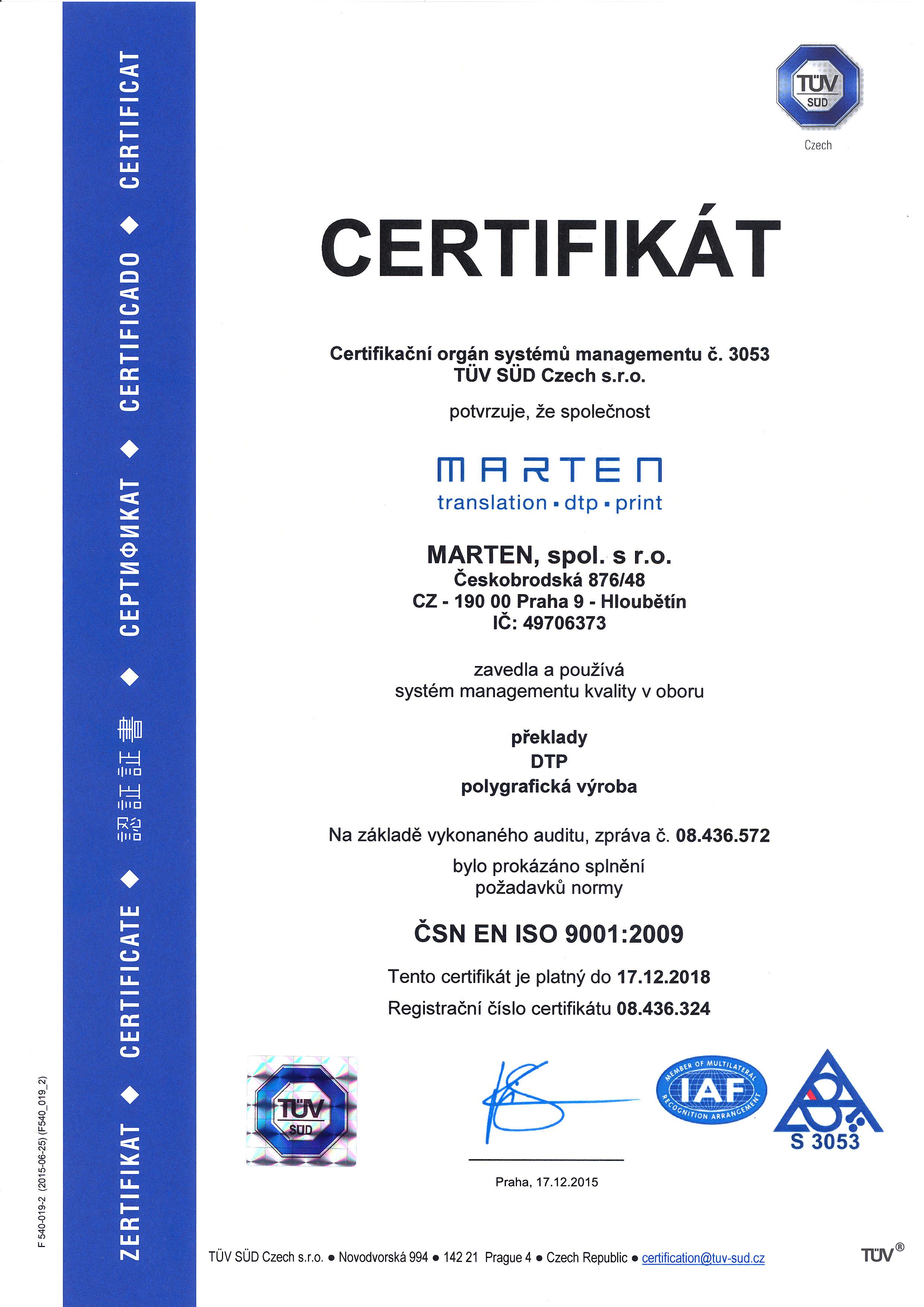 ČSN EN ISO 9001:2009